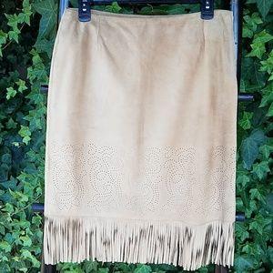 INC Fringe 100% Leather Skirt Size 8 Festival
